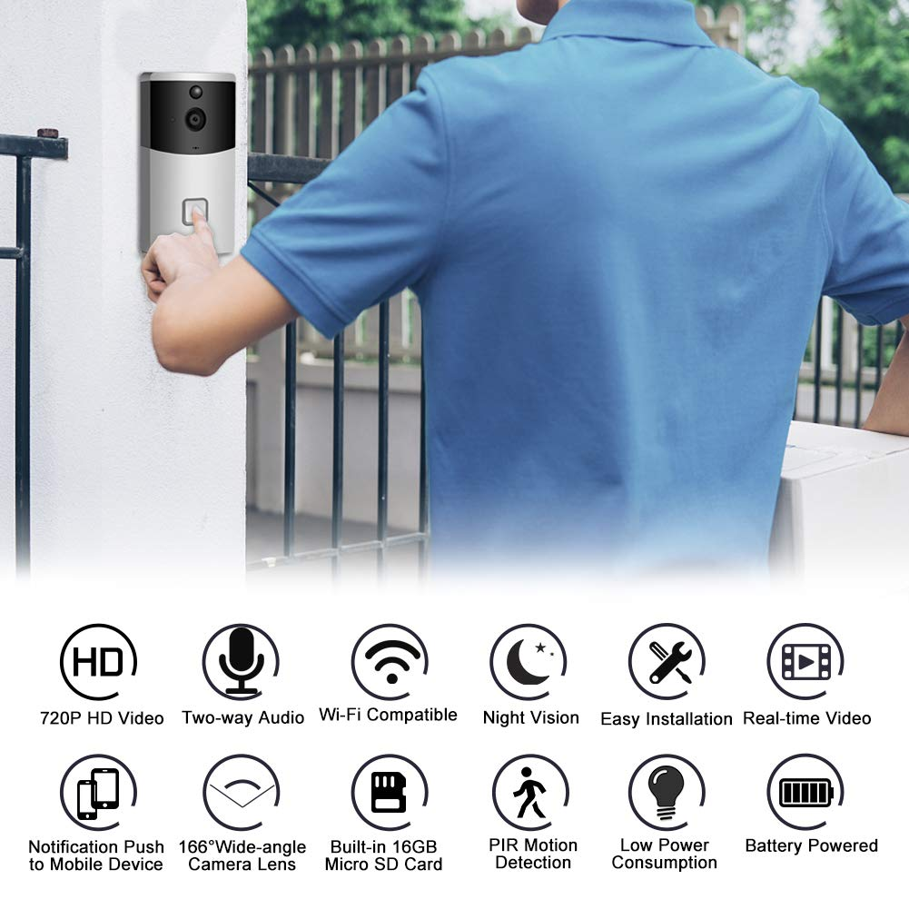 Video Doorbell AUNEX WiFi Doorbell Camera PIR Motion Detection Cloud Storage 720P HD Wireless Doorbell Home Security with Two-Way Talk & Video Night Vision Support Android and iOS(Silver)