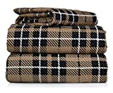 #6: Piece 100% Soft Flannel Cotton Bed Sheet Set – Queen/King Size – Patterned Bedding Covers – 1 Flat Sheet, 1 Fitted Sheet, 2 Pillow Cases - Fade Resistant Designs, (Brown Plaid, Queen)