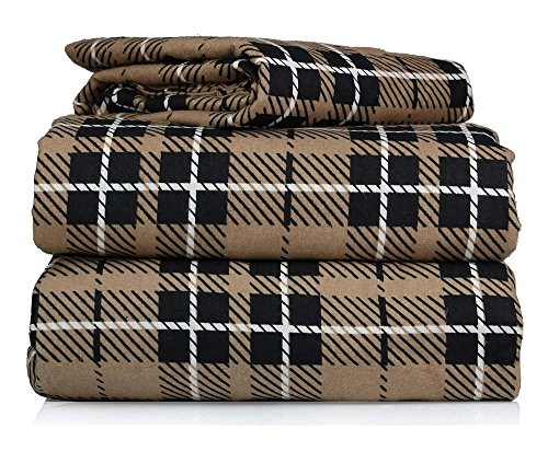 AM Home Fashion Piece 100% Soft Flannel Cotton Bed Sheet Set - Queen/King Size - Patterned Bedding Covers - 1 Flat Sheet, 1 Fitted Sheet, 2 Pillow Cases - Fade Resistant Designs, (Brown Plaid, Queen)
