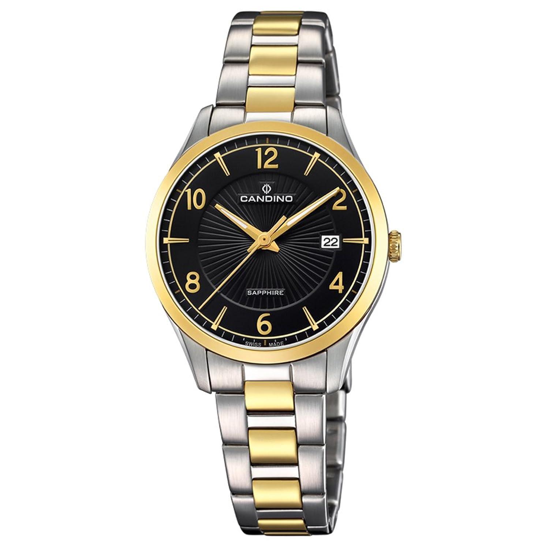 Candino Armbanduhr fÜr Damen Saphir analog Elegant mit Edelstahl-Armband silber gold Quarz-Uhr UC4632-2