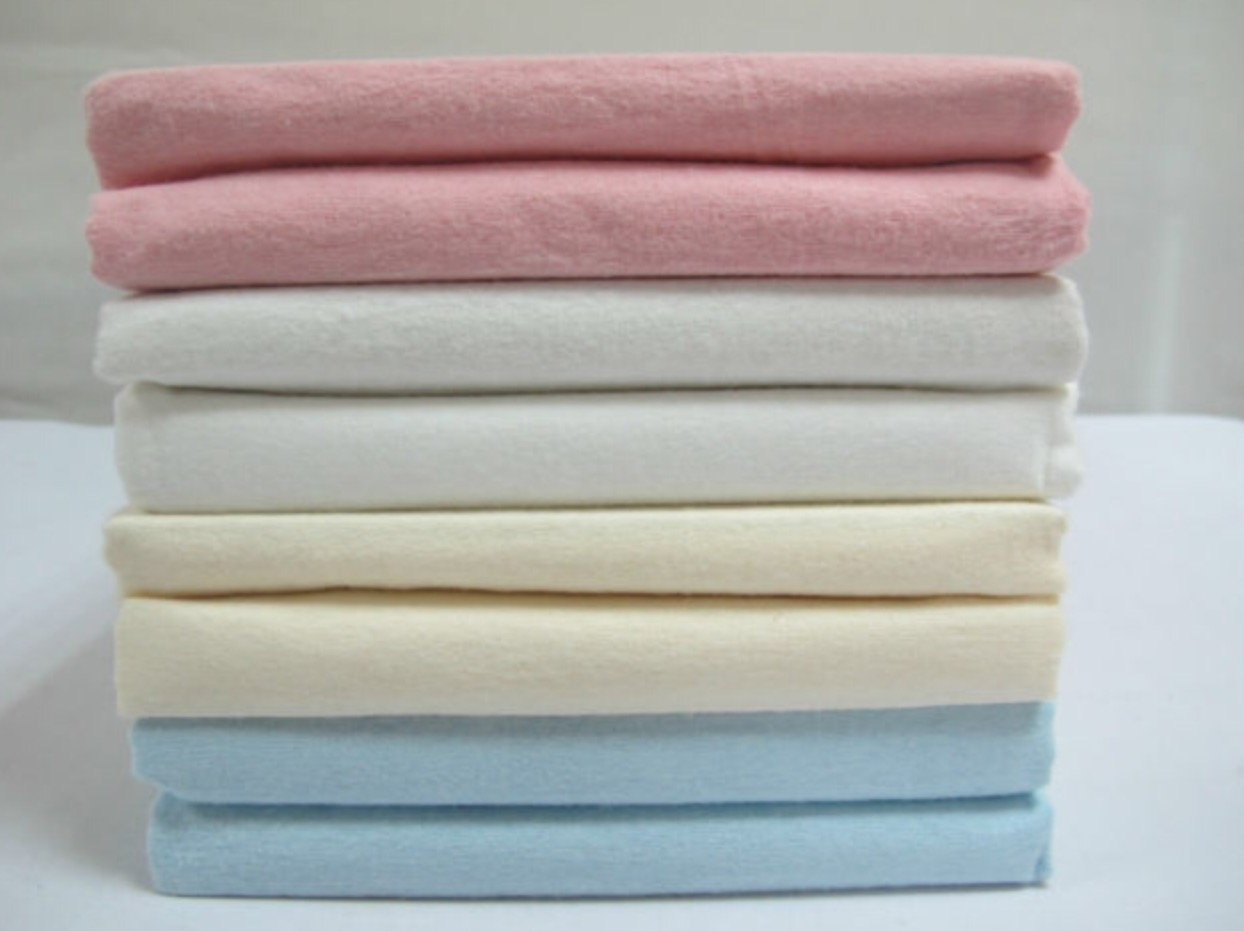 Cot Bed Flannelette Flate Sheet Set Pack 2 Pack Cream Luxury Baby Cot
