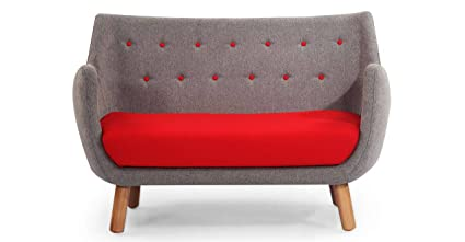 Kardiel 1946 Parlor Mid-Century Modern Sofa, Earl Grey/Red Cashmere Wool
