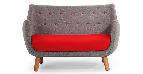 Kardiel 1946 Parlor Mid-Century Modern Sofa, Earl Grey/Red Cashmere Wool