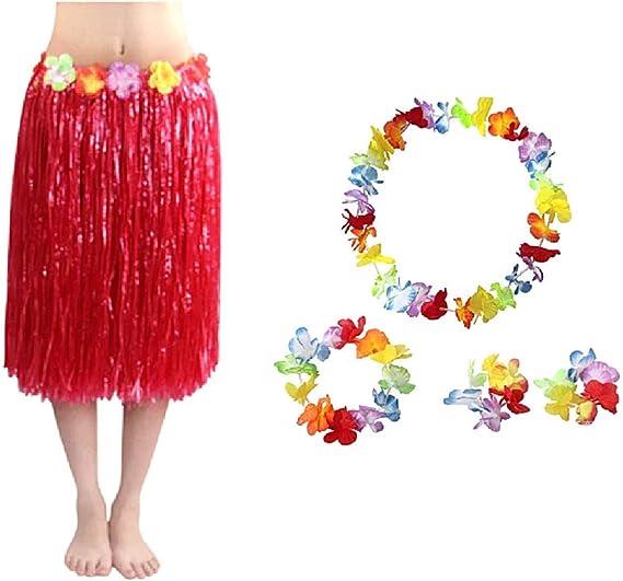 KIRALOVE Kit de Falda Hawaiana - Falda Hawaii - Collar - Corona ...