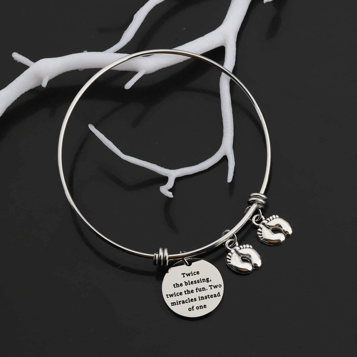 Gzrlyf Mom of Twins Bracelet Twin Mom Jewelry Twins Gifts for Mom Dad Grandma Grandpa Twice The Blessing Twice The Fun Two Miracles Instead of One