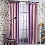 Nibesser Blackout Curtains for Girls Nursery Room Tow Tone Faux Linen Grommet Top,2 Panels(42W x 95L Inch,Pink/Purple)