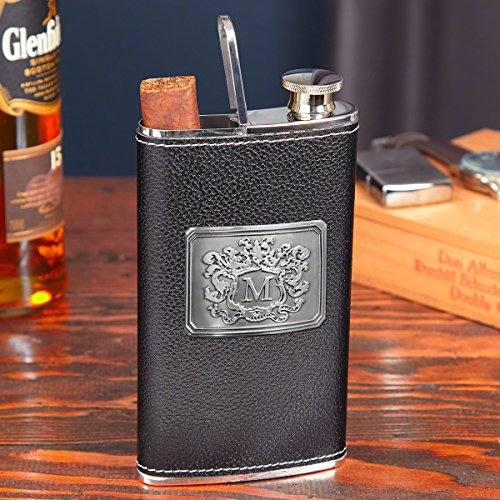 Black Authentic Leather 2-in-1 Cigar Flask by HomeWetBar - Perfect for Whiskey ()