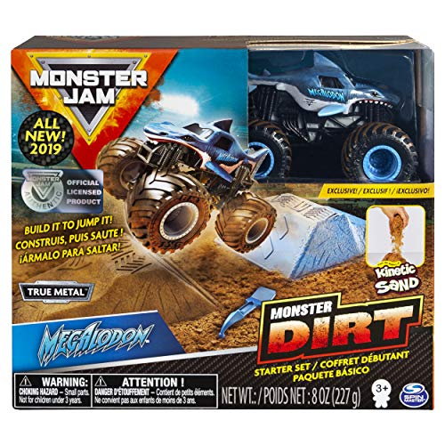 Monster Jam Megalodon Monster Dirt Starter Set, Featuring 8 Ounces of Monster Dirt & Monster Truck ()