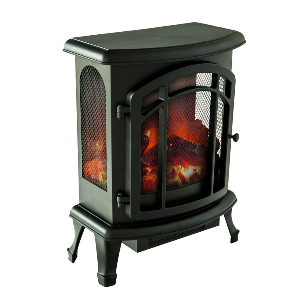 FLAMEandSHADE Electric Fireplace Stove Heater, Portable Fireplace Space Heater with Remote Thermostat, W19'' x H24'' by FLAMEandSHADE