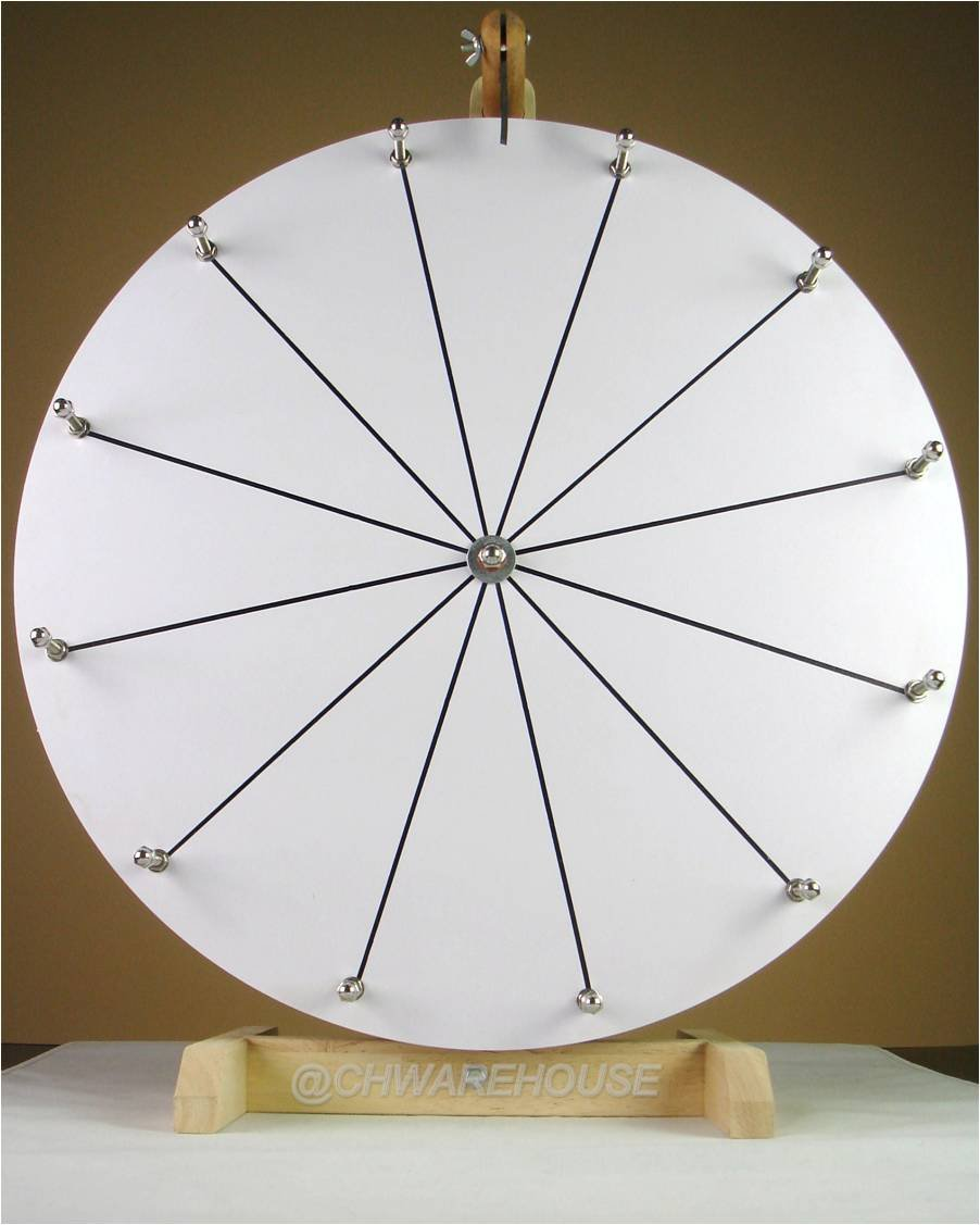 20'' Tabletop White Dry Erase Prize Wheel, Spinning Board w/ 12 Slots and Wood Stand