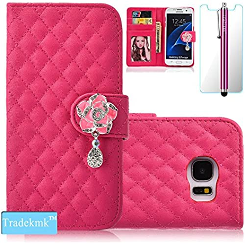 Galaxy S7 Case,S7 Case, Tradekmk(TM); Camellia Design PU Leather Card Holders And Stand Wallet Phone Case (Rose Sales