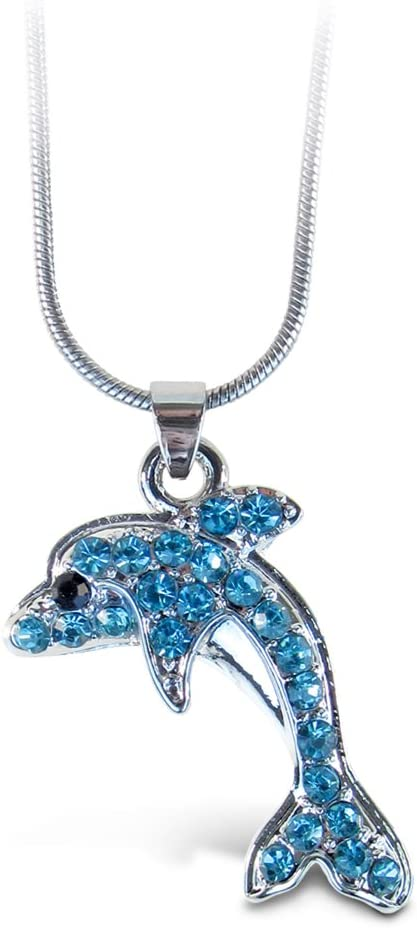 Approx: 18in long Buy in Bulk Sterling Silver Plate Chain Necklace with Lobster Clasp Dolphins Charm Necklace