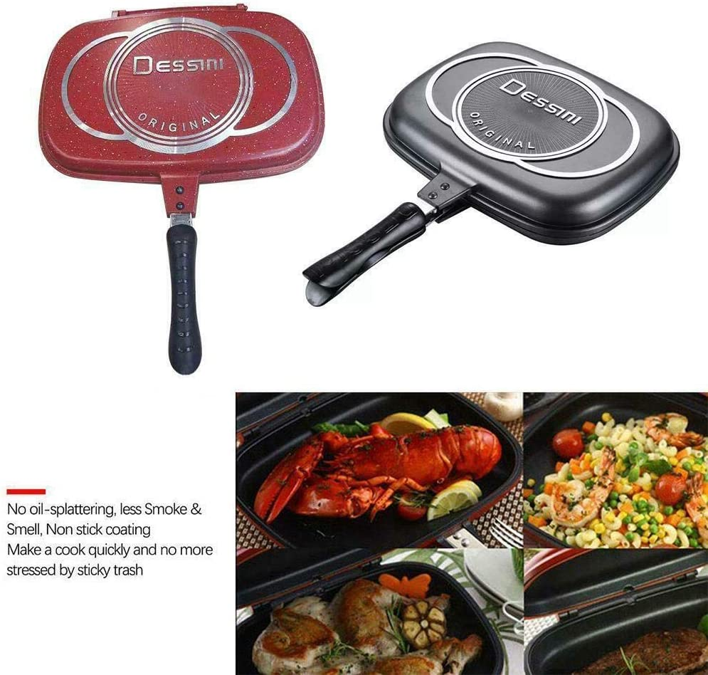 32 cm TIFALEX 1x Durable Aluminum Frying Pan Die Casting Double Sided Fry Pan Grill Pan