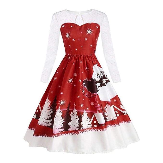 incontrare 4195f c306a VICGREY ❤ Vestito di Natale, Donna Pizzo Eleganti A-Line ...
