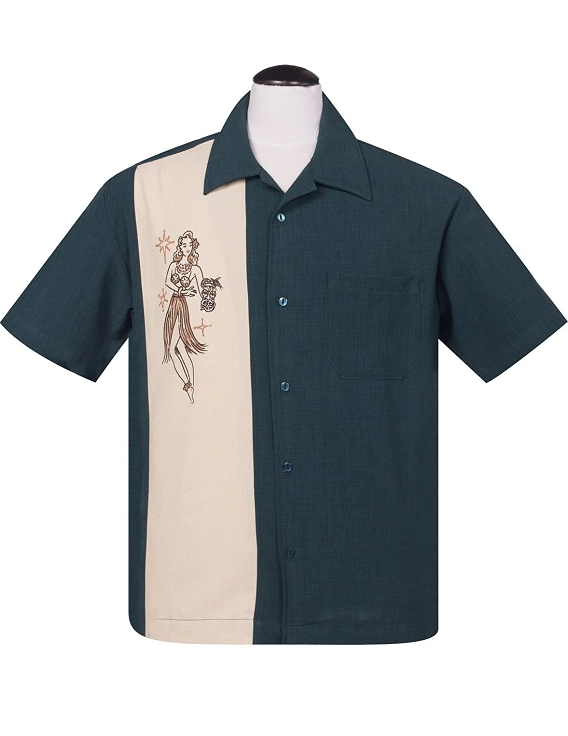 Steady Clothing Mai Tai Mirage Button Up in Teal Tiki Bowling Shirt