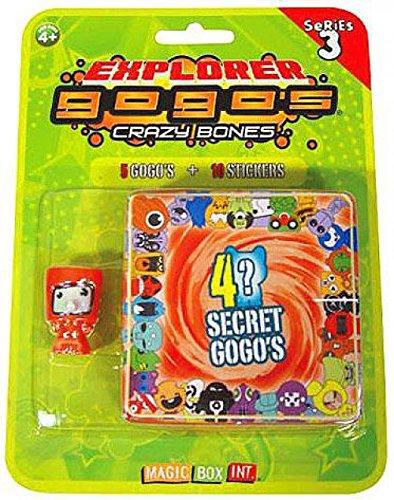 Crazy Bones Gogos Series 3 Explorer Blister Pack 5 Random Figures 9 Stickers! (5 Bones Series Crazy)