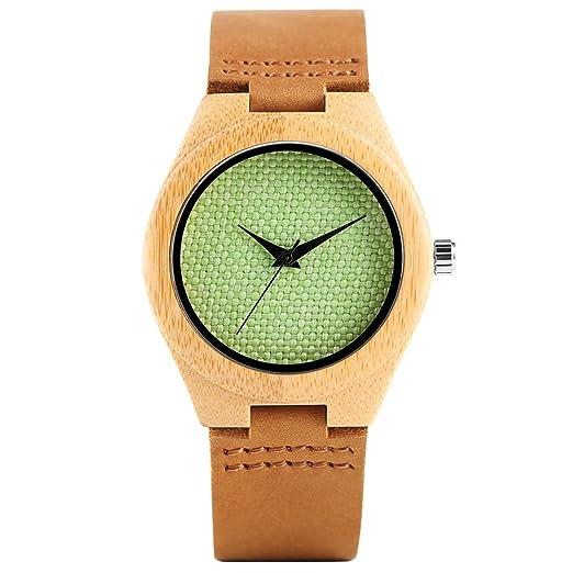 Reloj de Pulsera de Madera para Mujer, Hecho a Mano en Madera de bambú, Reloj de Cuarzo, Correa de Piel auténtica de bambú: Amazon.es: Relojes