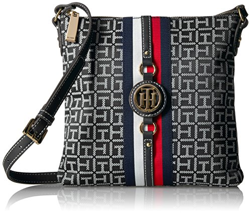 Tommy Hilfiger Crossbody Bag for Women Jaden, Black/White