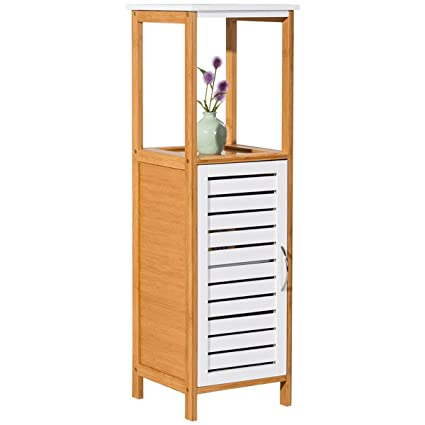 Amazon.com: Bamboo Bathroom Rack Storage Floor Cabinet Free Standing ...