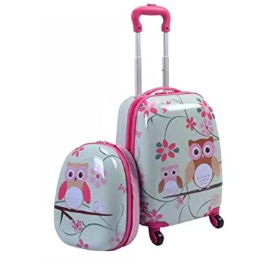 """2 Piece Owl Bird Inspired Carry On Luggage Suitcase Set, Featuring Durable Upright Multi Compartment Floral Design Travel Case, Modern Stylish Lightweight Kids Storage Bag Trolley, Pink, Size 16"""""""