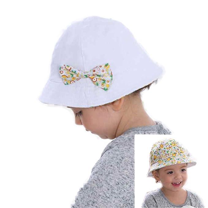 64097bd3bd393 Jingjqingcao Summer Double Sided Wear Flower Print Cotton Baby Hat Cap  Bowknot Sun Bucket Hats Style