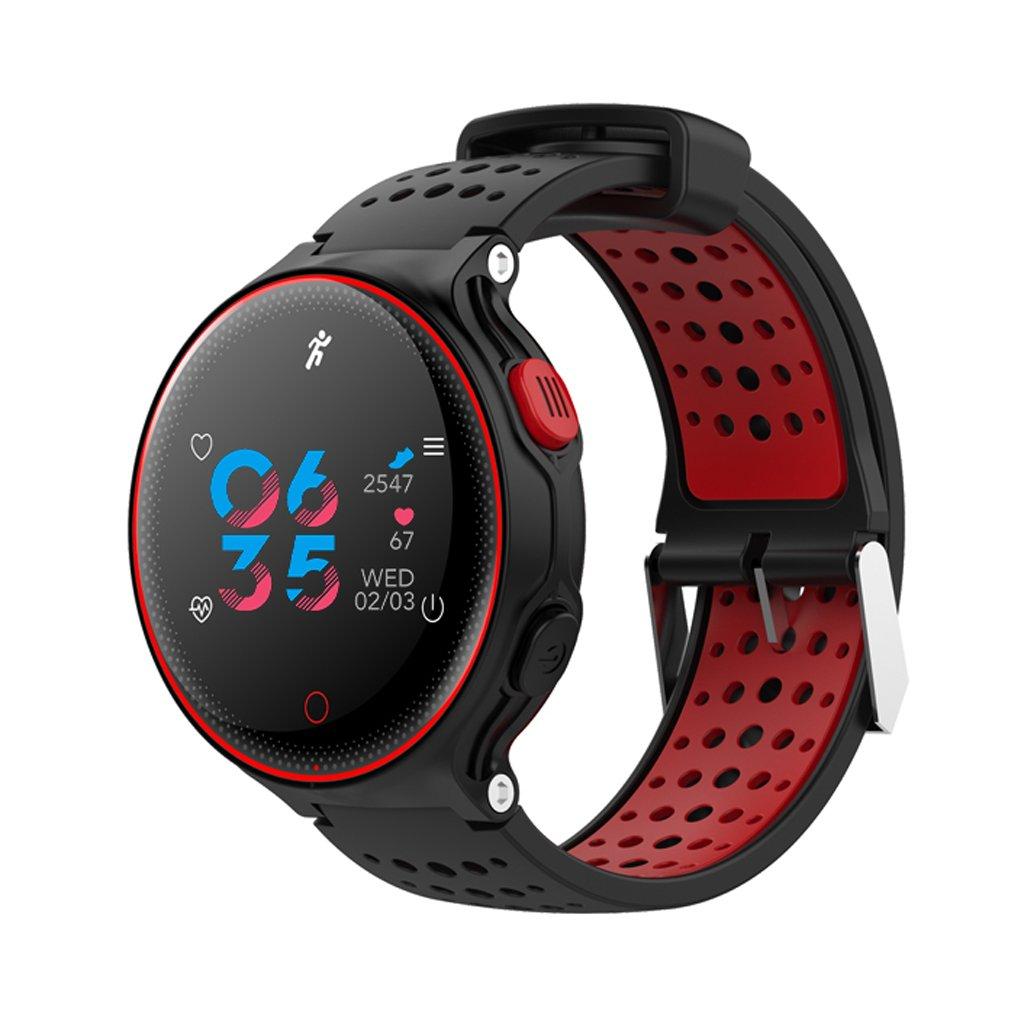 ... Reloj IP68 A Prueba De Agua La Presión Arterial La Frecuencia Cardíaca De Oxígeno Monitoreo Paso Redondo Modelos Masculinos Y Femeninos (Color : Red)
