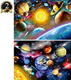 5D Diamond Painting Kit DIY Full Drill Planet and Universe Arts Crafts 2 Pack by Yomiie, Solar System (12x16inch/30x40cm) & Space Stars (12x16inch/30x40cm)