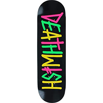 "Deathwish Skateboards Deathspray Multi OG Black / Pink / Green / Yellow Skateboard Deck - 8.47"" x 31.875"" : Sports & Outdoors"