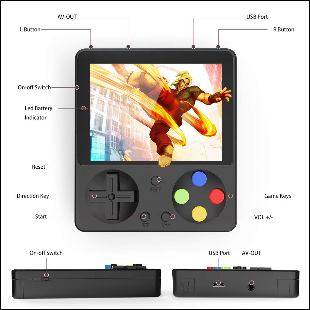 Ruihoxin Handheld Game Console, 333 Classic Games 3.0 inch HD LCD Screen Portable Video Game, Retro Game Console can be Played on TV, Good Gift for Children and Adults, Gifts. (Black) by Ruihoxin (Image #2)