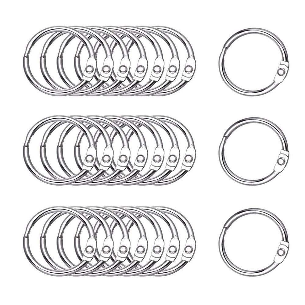 Antner 100 Pack Loose Leaf Book Rings Silver 35mm/1.38inch Metal Binder Rings Key Rings Nickel Plated Hinged O-Ring by Antner