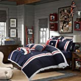 TheFit Home Textile Cotton Fabric American Flag Bedding P8 Duvet Cover Set King Queen 4Pcs (King)