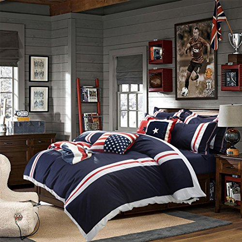 TheFit Home Textile Cotton Fabric American Flag Bedding P8 Duvet Cover Set King Queen 4Pcs (Queen)