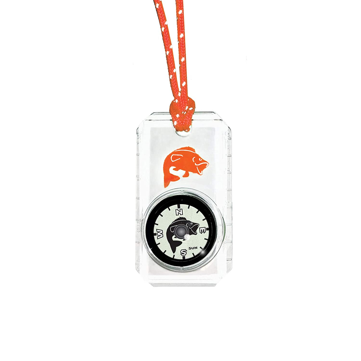 Sun Company Wildlife Compass for Kids Break-Away Neon Lanyard Childrens Compass for Camping Hiking and Exploring