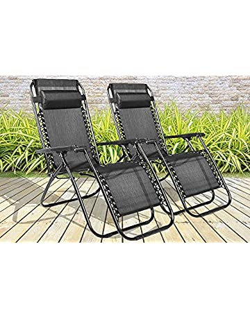 55c040f46 BARGAINS-GALORE SET OF 2 RECLINING SUN LOUNGER OUTDOOR GARDEN PATIO GRAVITY  CHAIR RECLINER BED