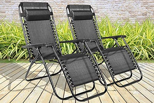 BARGAINS GALORE SET OF 2 RECLINING SUN LOUNGER OUTDOOR GARDEN PATIO GRAVITY CHAIR RECLINER BED