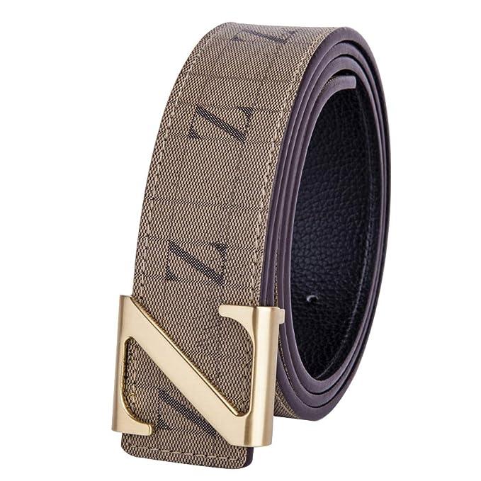 Cinturón Marrón Hombre Cinturones Cuero Real/Caja Regalo Oro ...