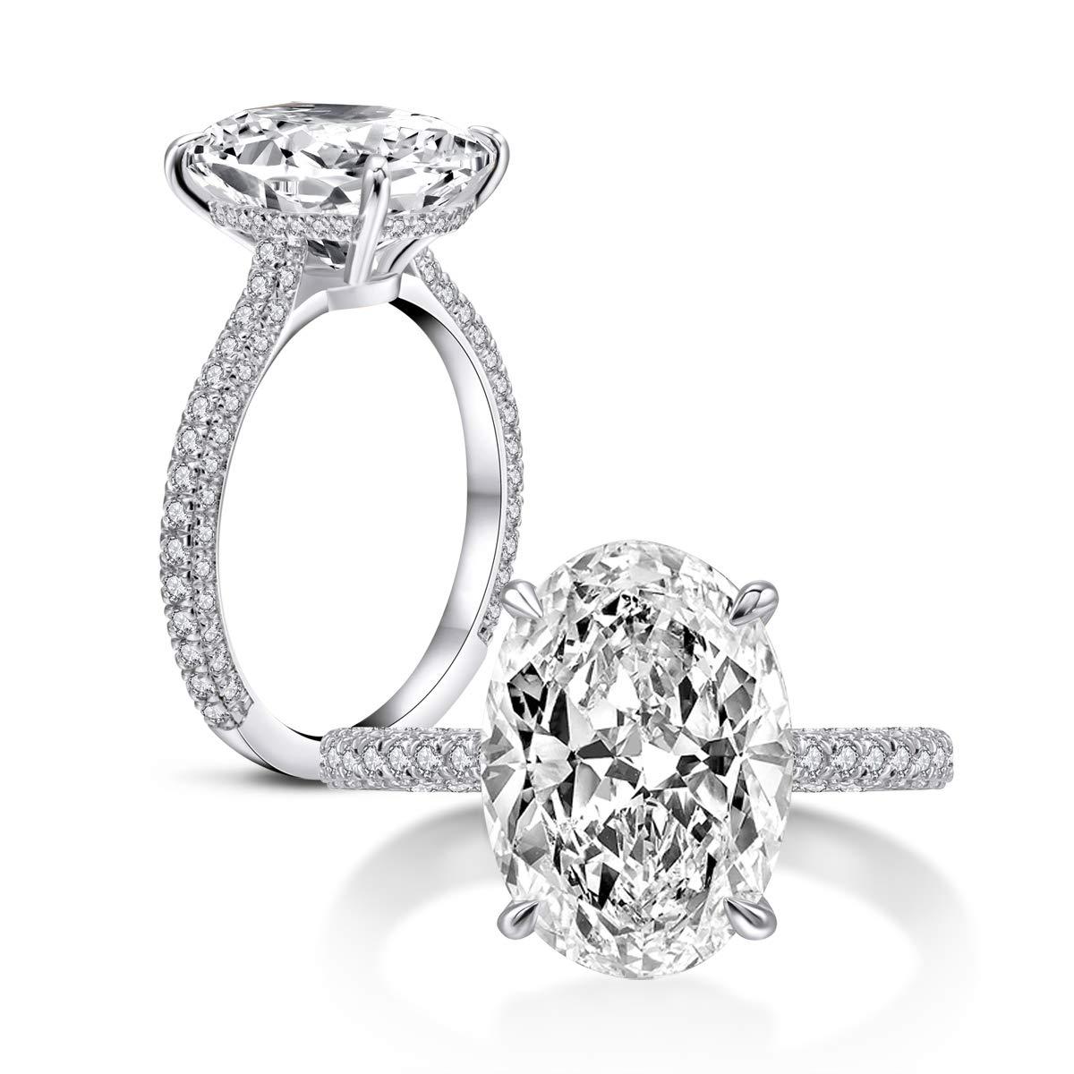 AINUOSHI 925 anillos de boda de plata de ley para mujer anillo de compromiso de circonita cúbica de corte ovalado de 5 quilates
