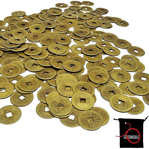 fengshuisale 100pcs Feng Shui 1 Inch Chinese Fortune Coins Feng Shui I-Ching Coins Chinese Good Luck Coins W Free Red String Bracelet W3721
