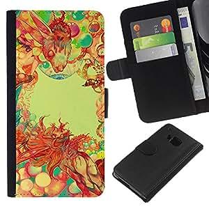 LECELL--Cuero de la tarjeta la carpeta del tirón Smartphone Slots Protección Holder For HTC One M9 -- Modelo psicodélico --