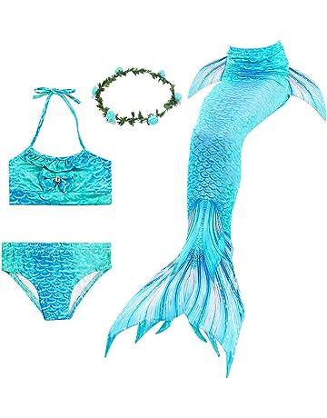 5a4774e2ba Ubetoone 3Pcs Mermaid Tails for Girls Swimming Costume Party Supplies Swimsuit  Swimwear Bikini for 3-