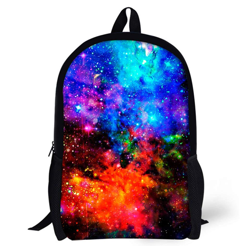 Galaxy Pattern Kids Student Backpack Casual Style Canvas Daypack for Teenagers