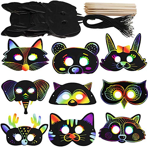 (Supla 27 Set Magic Scratch Art Rainbow Scratch Paper Animal Masks Owl Rabbit Tiger Wolf Bear Squirrel Fox Bear Elephant Cutouts Face Masks with Holes with Elastic Cords Scratching Tool for Kids Jungle Forest Animal Birthday Party)