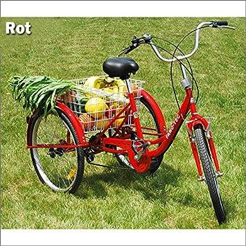 RMAN Triciclo para Adultos Adultos Tres - Rueda Personas Mayores Last Bicicleta 24 Shimano 6 Marchas Rojo: Amazon.es: Deportes y aire libre
