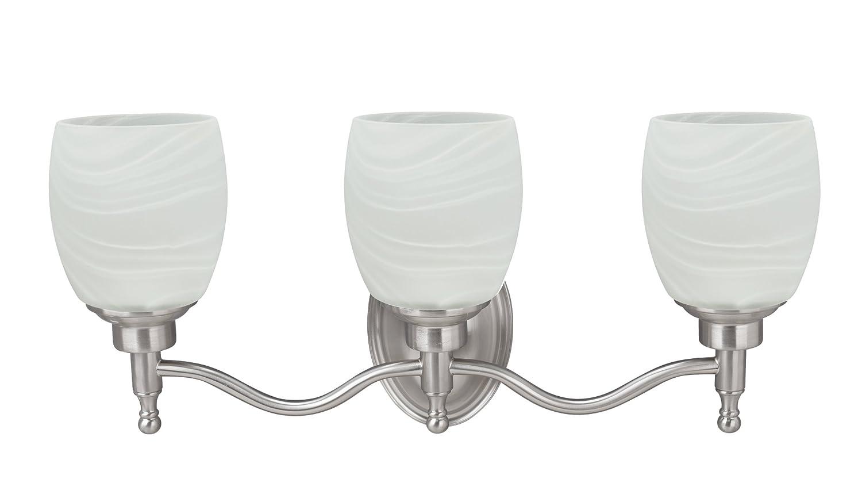 アスペンクリエイティブ62129 three-lightメタル浴室洗面化粧台壁取付具、ツヤ消しニッケル B079TNWYNJ 27218