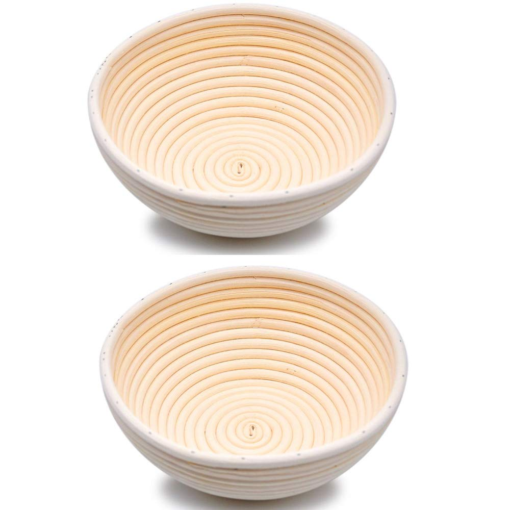 Professional Round Handmade Banneton Bread Proofing Basket (8 inch 2pcs) by UPHAN