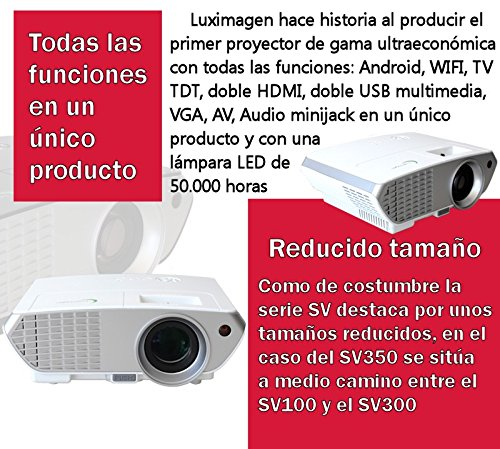 Proyector FULLHD modelo (2018)  Luximagen SV350, Android, Wifi, TV TDT, AC3, LED, compatible con PS4, Switch, Xbox One (Con TDT, Wifi, color blanco)