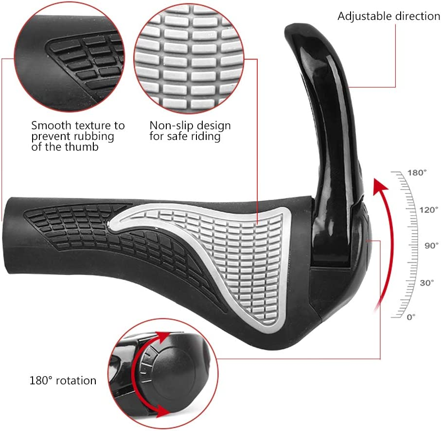 Bike Handlebar Grips Shock Resistance /& Soft for MTB BMX Cycling Bicycles Ergonomic Antislip Scooter Grips with 180/° Adjustable Bar End Horns