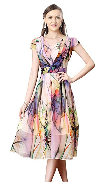 Charmian Womens Floral Chiffon Short Sleeves Summer Beach Party Casual Dress at Amazon Womens Clothing store: