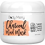 Body Merry Charcoal Mud Mask: Face mask for deep skin clean to clear blackheads & unclog pores & detoxify/brighten complexion with natural ingredients like Kaolin + Bentonite + Fruit Extracts