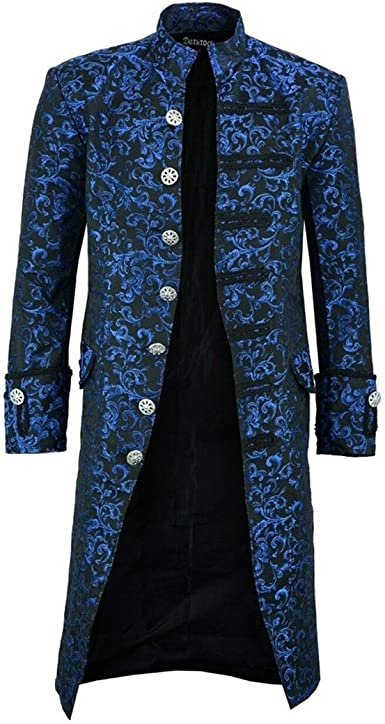 Mens Vintage Tailcoat Jacket Gothic Steampunk Victorian Frock Retro Uniform Stand Collar Coat Uniform Halloween Costume Long Coat